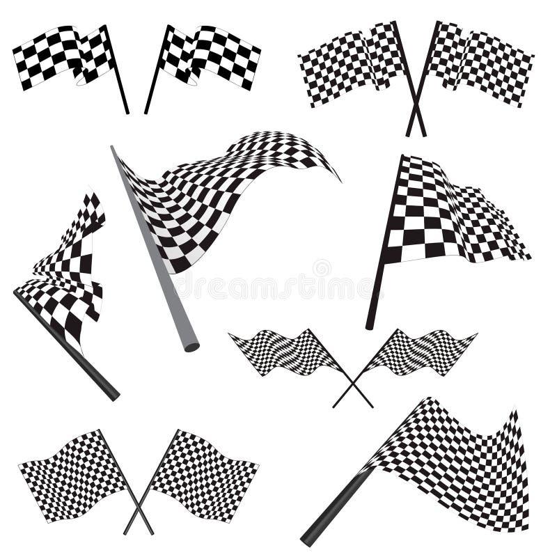 флаги участвуя в гонке комплект иллюстрация вектора