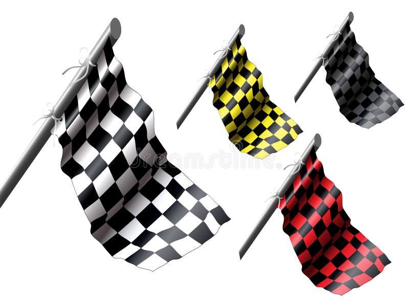 флаги участвуя в гонке комплект иллюстрация штока