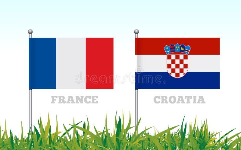 Флаги Франции и Хорватии против фона футбольного стадиона травы вектор иллюстрация штока