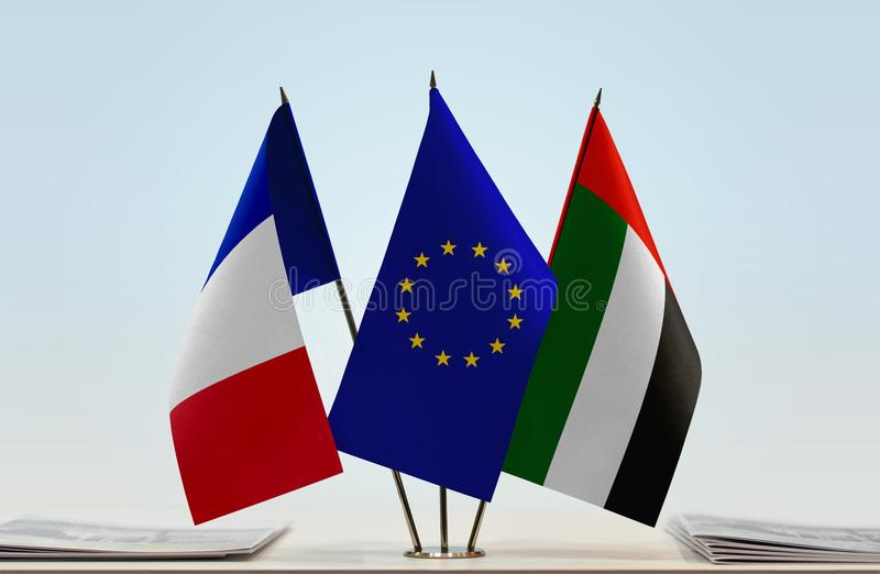 Флаги Франции EC и ОАЭ стоковое фото rf