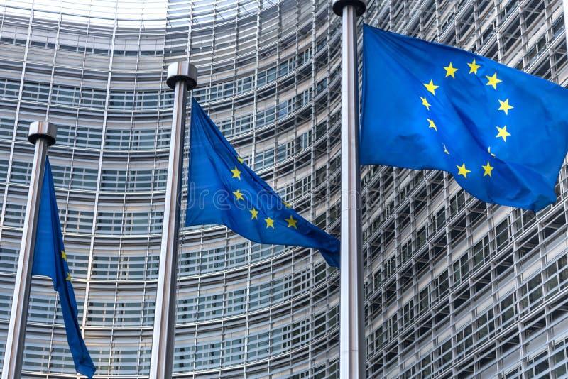 Флаги Eu в brussel Бельгии стоковая фотография
