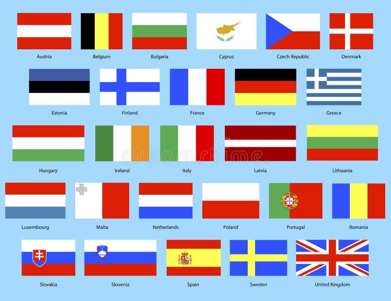 флаги eu иллюстрация вектора