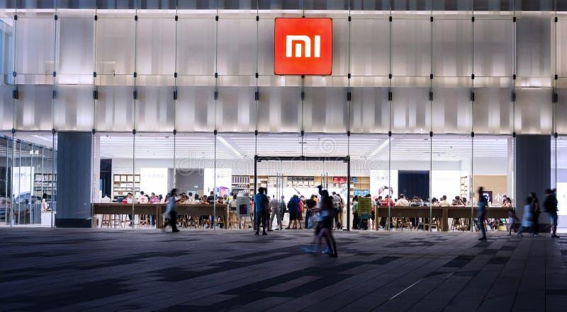 Флагманский магазин Xiaomi на ноче стоковое изображение rf