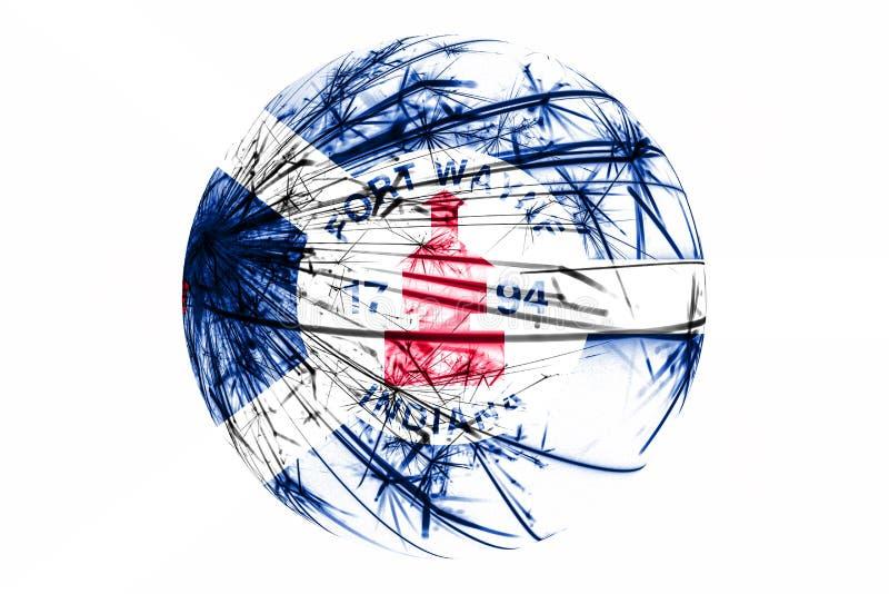 Флаг абстрактного Fort Wayne, Индианы сверкная Американская концепция шарика рождества изолированная на белой предпосылке иллюстрация штока