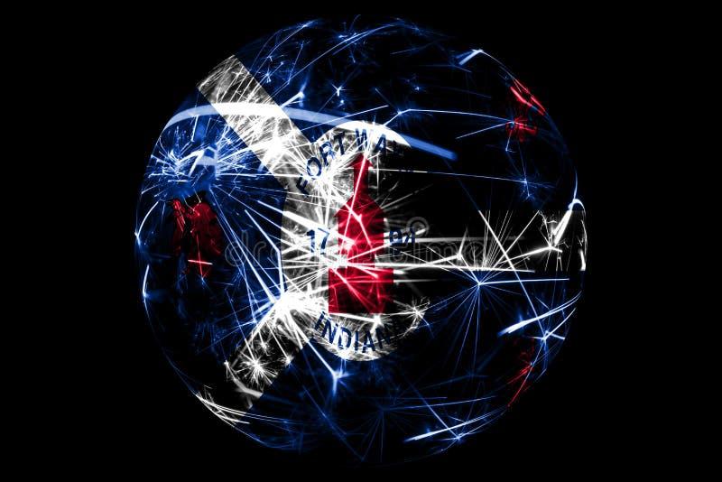 Флаг абстрактного Fort Wayne, Индианы сверкная Американская концепция праздника шарика рождества изолированная на черной предпосы иллюстрация штока