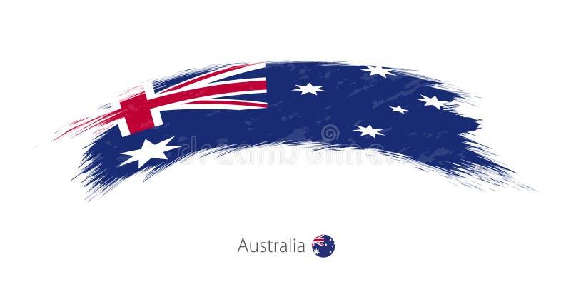 Флаг Австралии в округленном ходе щетки grunge иллюстрация штока