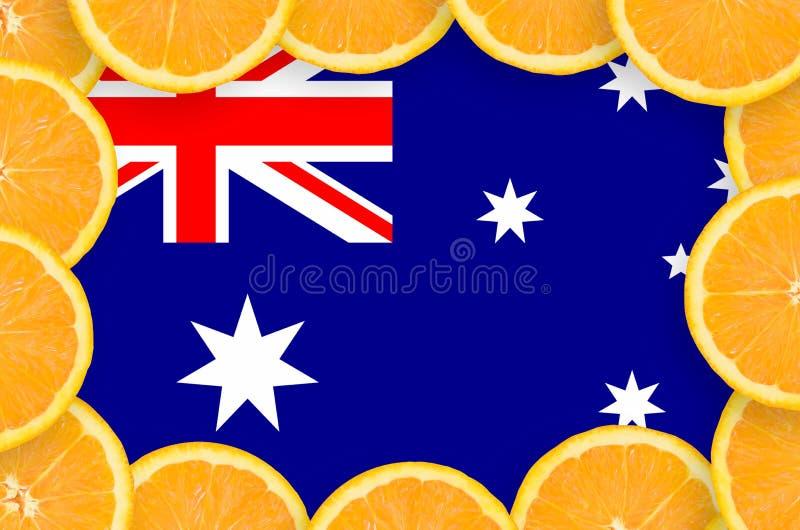Флаг Австралии в свежей рамке кусков цитрусовых фруктов бесплатная иллюстрация