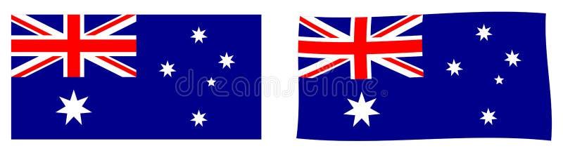 Флаг Австралийского Союза Простое и немножко развевая versi иллюстрация штока