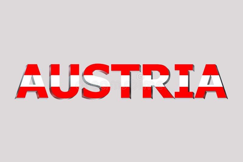 Флаг Австрии на тексте иллюстрация штока