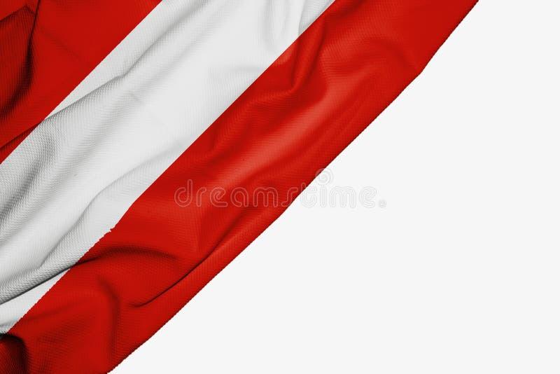 Флаг Австрии ткани с copyspace для вашего текста на белой предпосылке иллюстрация вектора