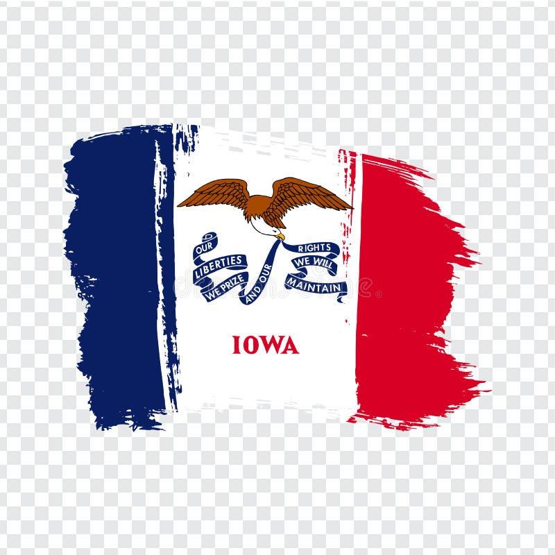 Флаг Айовы от ходов щетки Соединенные Штаты Айовы Флаг Айова на прозрачной предпосылке для вашего дизайна вебсайта, логотипе, при иллюстрация штока