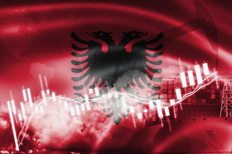 Флаг Албании, фондовая биржа, экономика обменом и торговля, добыча нефти, контейнеровоз в экспорте и деле и снабжении импорта иллюстрация вектора