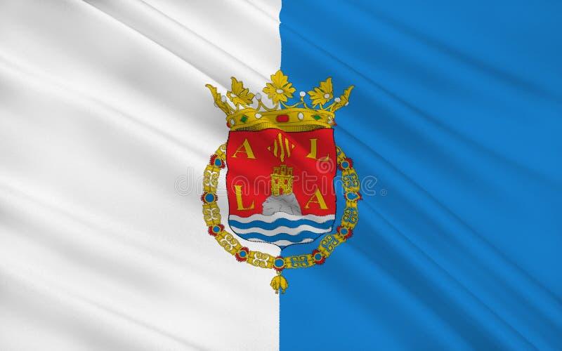 Флаг Аликанте город и порт в Испании на Blanca Косты иллюстрация вектора
