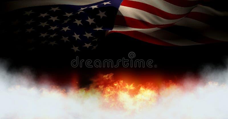 Флаг Америки и огонь горения бесплатная иллюстрация