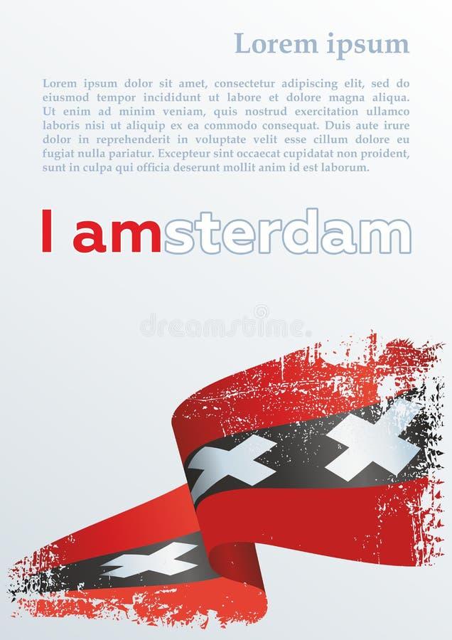 Флаг Амстердама, прописных Нидерланд Яркая, красочная иллюстрация вектора Флаг Амстердама бесплатная иллюстрация