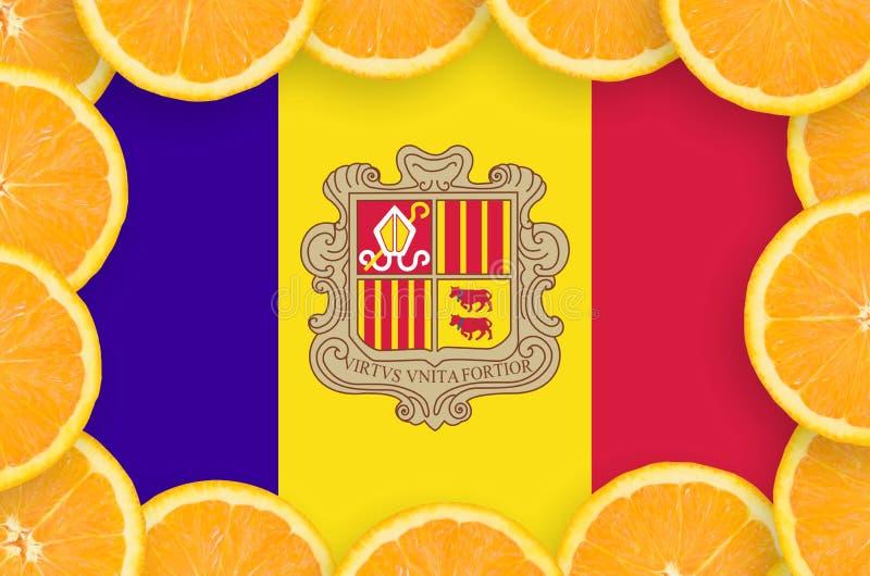 Флаг Андорры в свежей рамке кусков цитрусовых фруктов иллюстрация штока