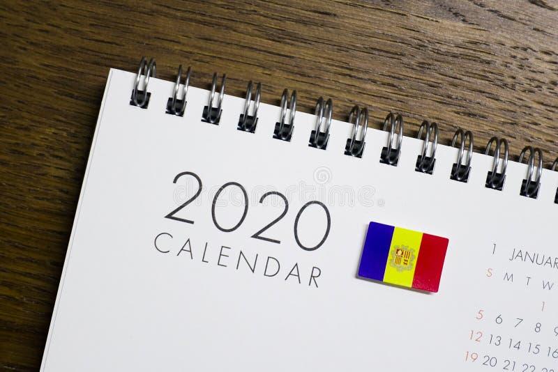 Флаг Андорры на календаре 2020 стоковые фотографии rf