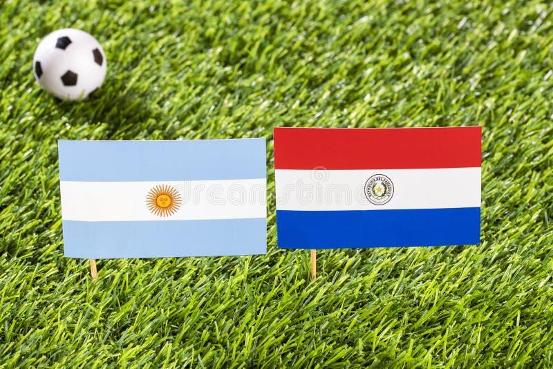 Флаг Аргентины и Парагвая в футбольном стадионе - conmebol Бразилии турнира футбола Copa América иллюстрация вектора