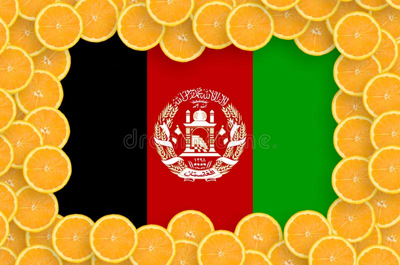 Флаг Афганистана в свежей рамке кусков цитрусовых фруктов бесплатная иллюстрация