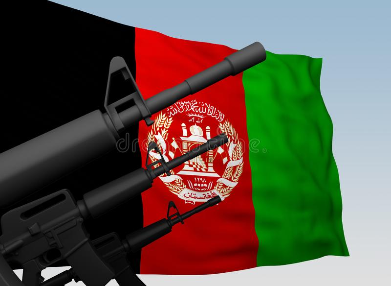 Флаг Афганистана с пулеметами бесплатная иллюстрация