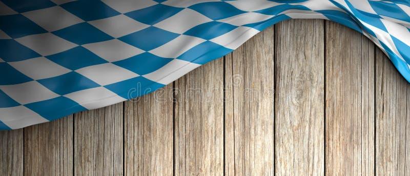 Флаг Баварии для предпосылки Oktoberfest деревянной с copyspace иллюстрация 3d бесплатная иллюстрация
