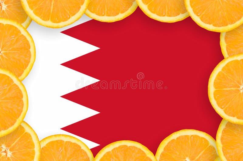 Флаг Бахрейна в свежей рамке кусков цитрусовых фруктов бесплатная иллюстрация