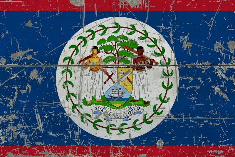 Флаг Белиза Grunge на старой поцарапанной деревянной поверхности Национальная винтажная предпосылка стоковые фото