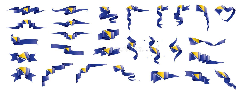 Флаг Боснии и Герцеговины, иллюстрация вектора на белой предпосылке иллюстрация вектора