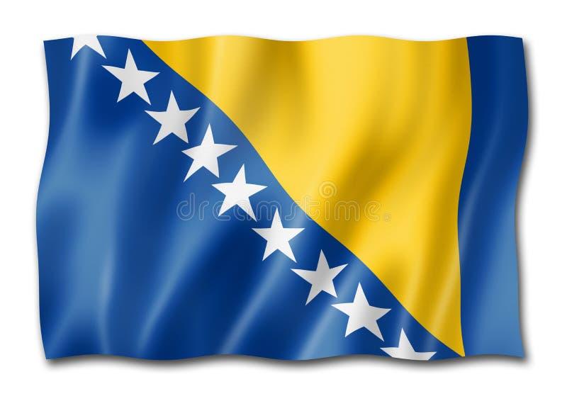 Флаг Боснии и Herzegovinan изолированный на белизне иллюстрация штока