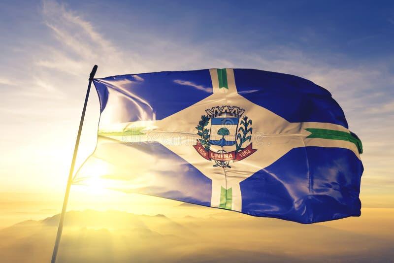 Флаг Бразилии Лимейра размахивается на верхнем тумане рассвета стоковые фото
