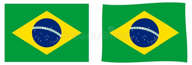 флаг Бразилии Простая и немножко развевая версия иллюстрация штока