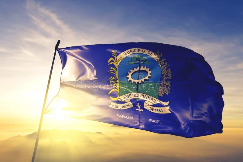 Флаг Бразилии Сан-Хосе-дус-Пинхаис размахивается на верхнем тумане рассвета стоковое фото rf