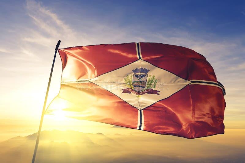 Флаг Бразилии Сан-Хосе-ду-Рио-Прету, размахивающий на верхнем тумане рассвета стоковые фотографии rf