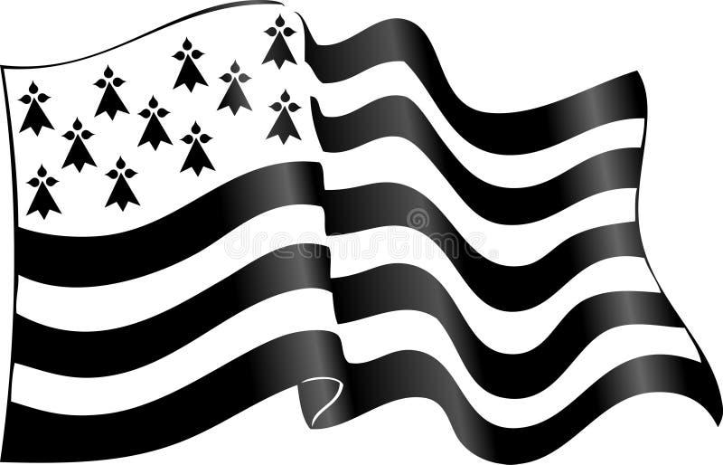 Флаг Бретани развевая на ветре изолированном на белой предпосылке иллюстрация вектора