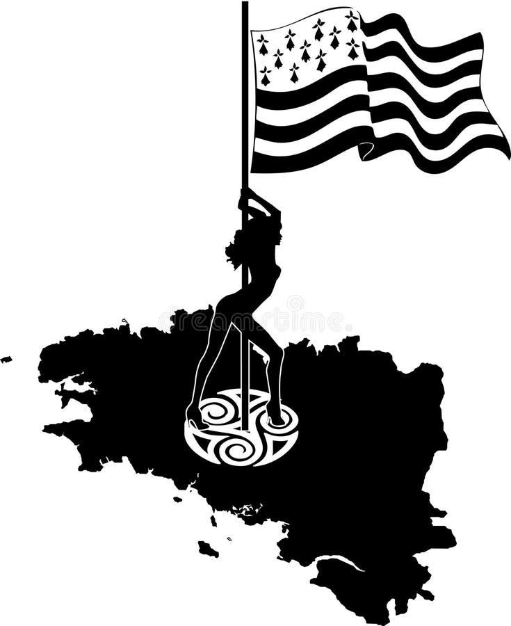 Флаг Бретани развевая на ветре изолированном на белой предпосылке иллюстрация штока