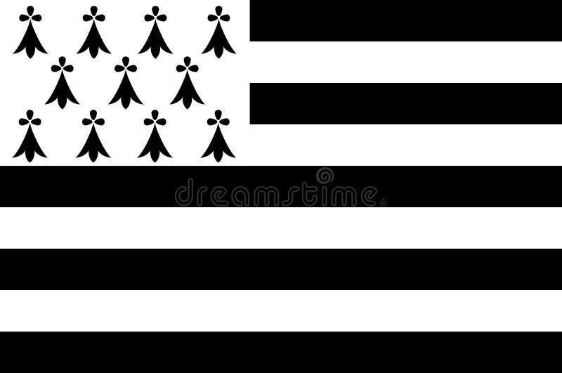 Флаг Бретани, Франции иллюстрация вектора