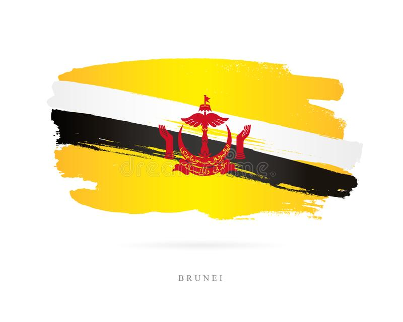 Флаг Бруней Абстрактная принципиальная схема иллюстрация штока