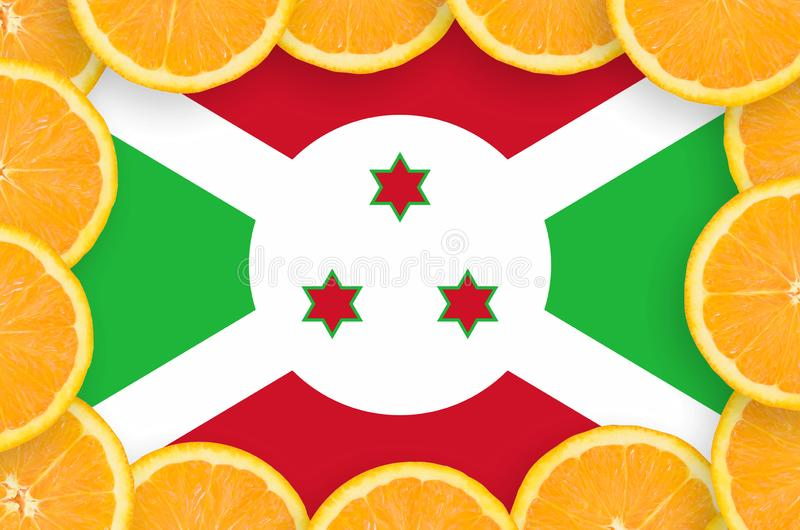 Флаг Бурунди в свежей рамке кусков цитрусовых фруктов иллюстрация штока
