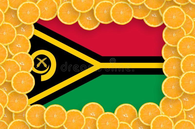 Флаг Вануату в свежей рамке кусков цитрусовых фруктов бесплатная иллюстрация