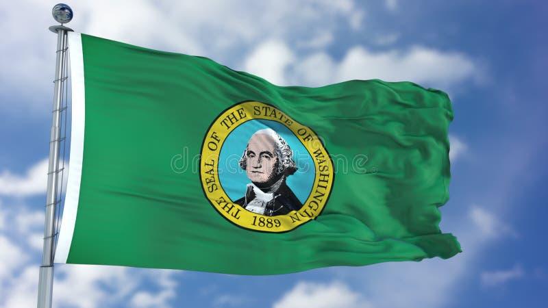 Флаг Вашингтона развевая стоковое фото