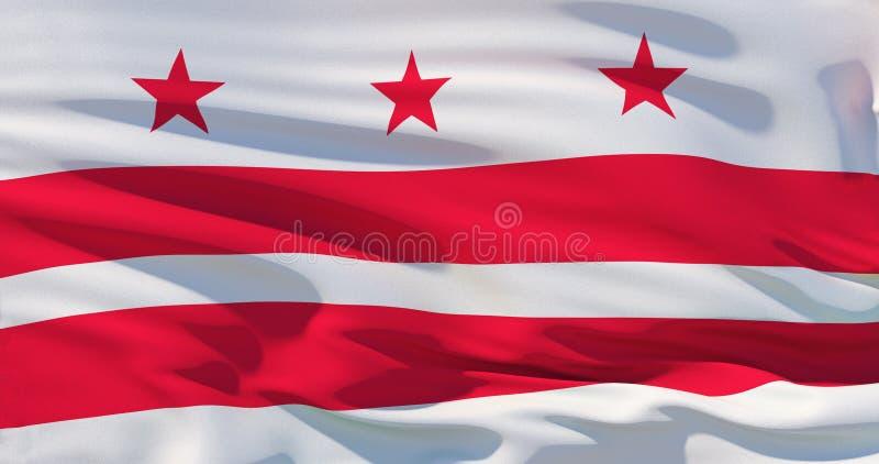 Флаг Вашингтон округа Колумбия, DC, иллюстрация 3d иллюстрация вектора