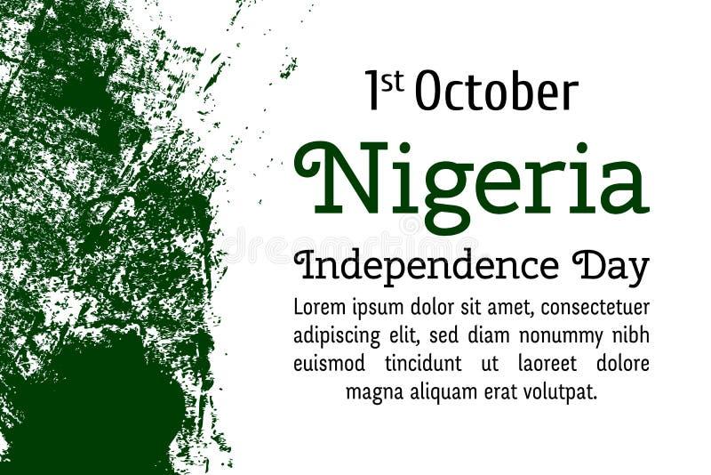 Флаг вектора Нигерии Иллюстрация вектора на нигерийский национальный праздник Флаг Нигерии в ультрамодном стиле grunge Конструкци иллюстрация штока