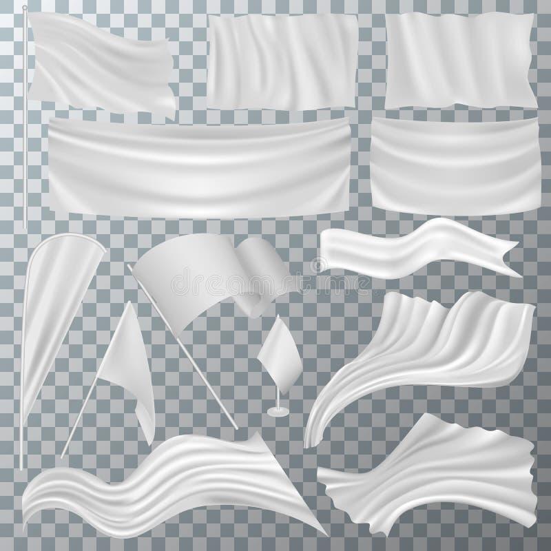 Флаг векторный белый флаг пусто на флагштоке и флагманский символ иллюстрация набор рекламных флагов для рекламы иллюстрация штока