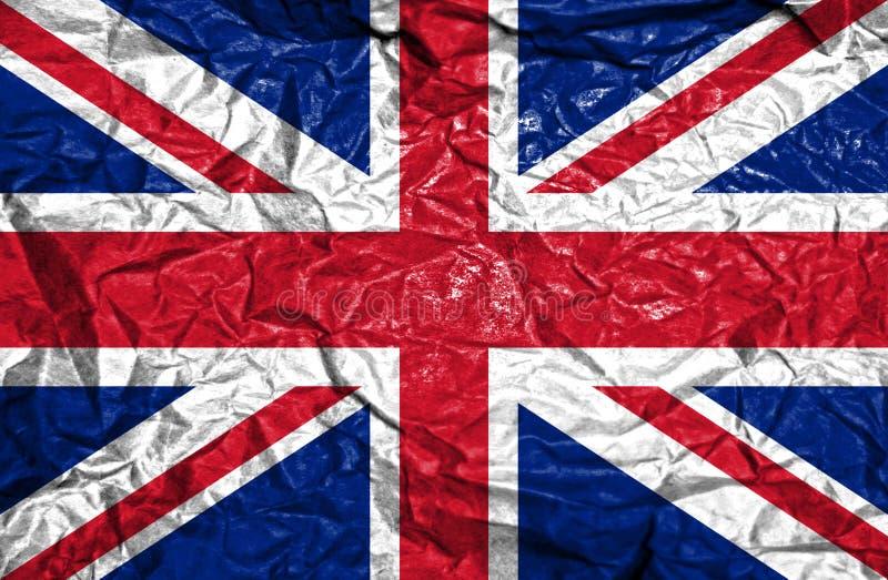 Флаг Великобритании винтажный на старой скомканной бумажной предпосылке стоковые изображения rf