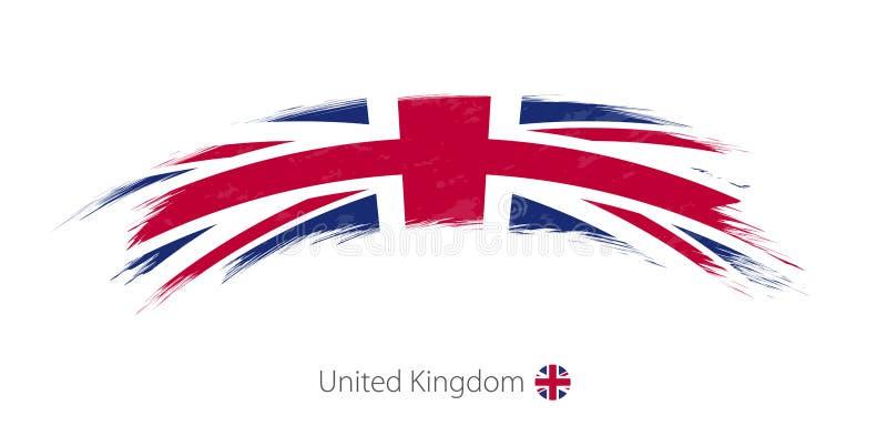 Флаг Великобритании в округленном ходе щетки grunge иллюстрация вектора