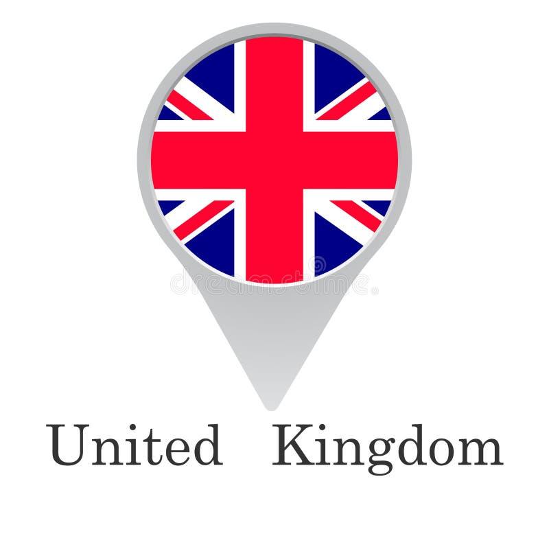 Флаг Великобритании в форме указателя изолированного на белой предпосылке иллюстрация вектора
