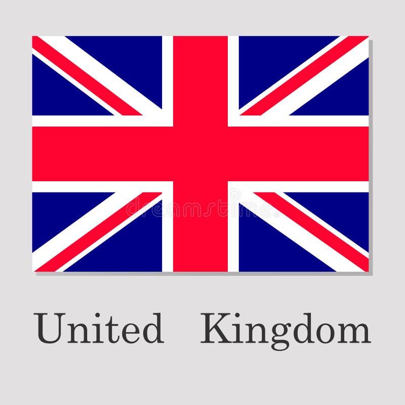 Флаг Великобритании изолированный на серой предпосылке иллюстрация вектора