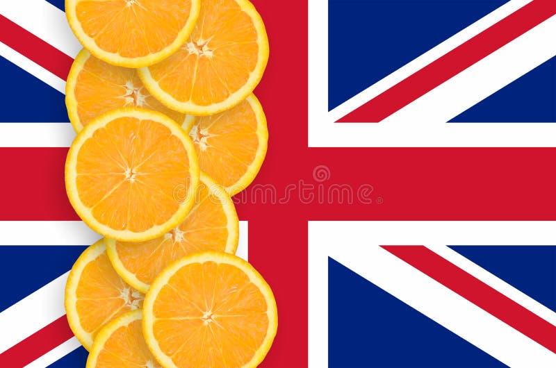 Флаг Великобритании и строка кусков цитрусовых фруктов вертикальная бесплатная иллюстрация
