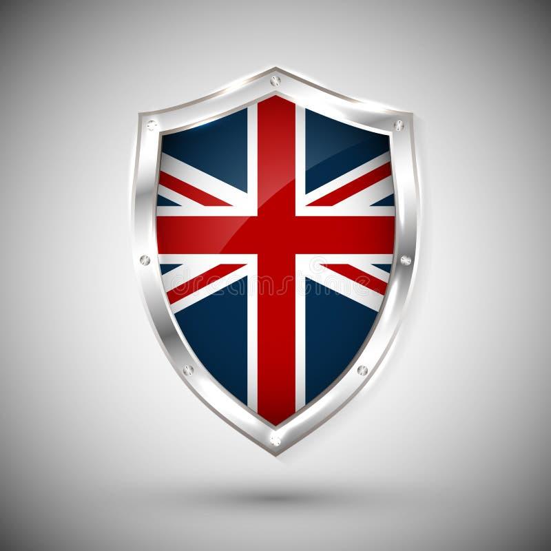 Флаг Великобритании на иллюстрации вектора экрана металла сияющей Собрание флагов на экране против белой предпосылки Абстрактный  бесплатная иллюстрация
