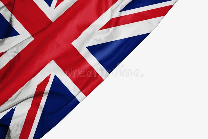 Флаг Великобритании ткани с copyspace для вашего текста на белой предпосылке иллюстрация вектора